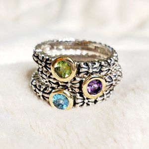 Stackable Ring Set Gems Silver and Gold